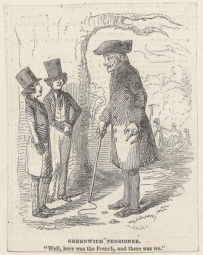 Detail of Greenwich Pensioner. 'Well, here was the French, and there was we.' by John Leech