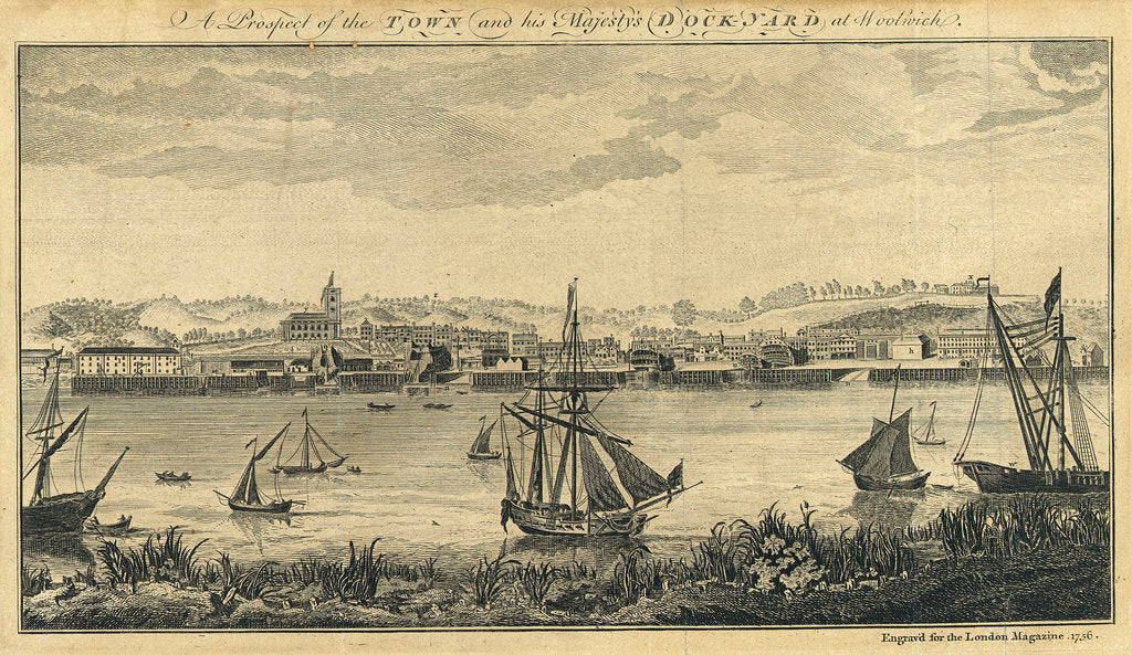 A Prospect of the Town and his Majesty's Dockyard at Woolwich by unknown