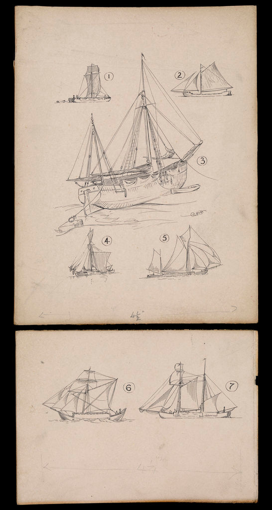 Detail of Seven illustrations on two cards regarding article on 'Trows ' in Mariner's Mirror by Robert Morton Nance