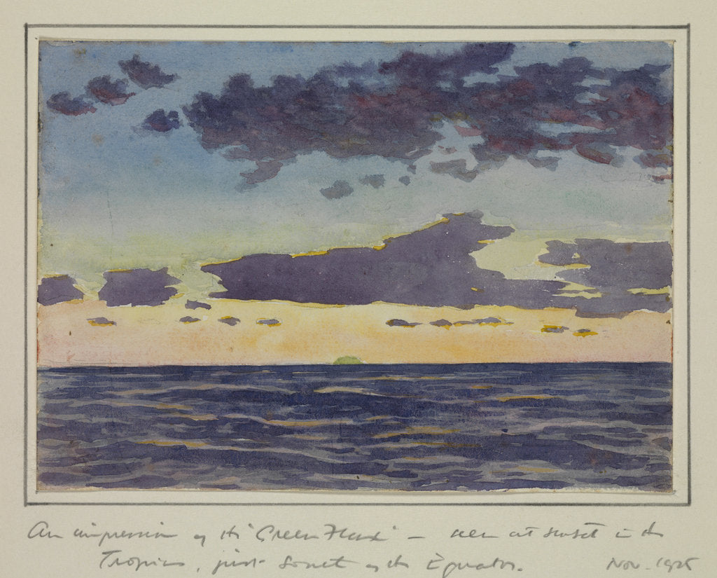 Detail of An impression of the ' Green Flash' seen at sunset in the tropics, just south of the equator, Nov 1925 by Sir Alister Hardy