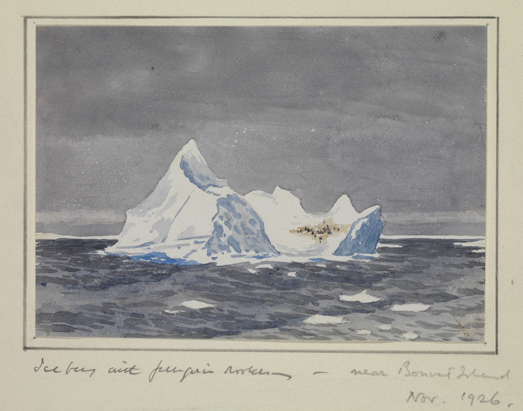 Detail of Iceberg with penguin rookery - near Bouvet Island, Nov 1926 by Sir Alister Hardy