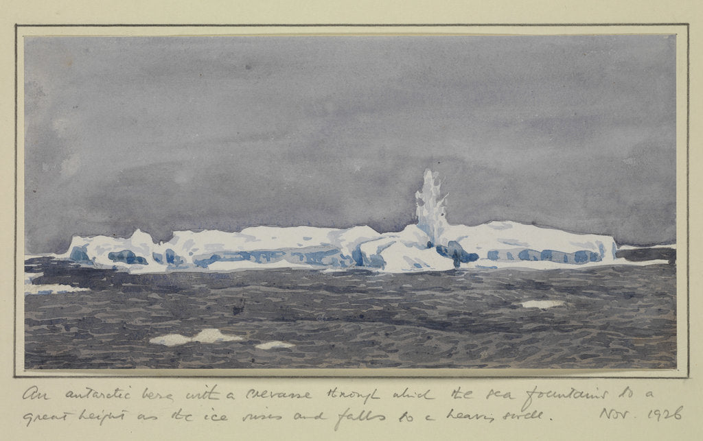 Detail of An antarctic berg with a crevasse through which the sea fountains to a great height as the ice rises and falls to a heavy swell, Nov 1926 by Sir Alister Hardy