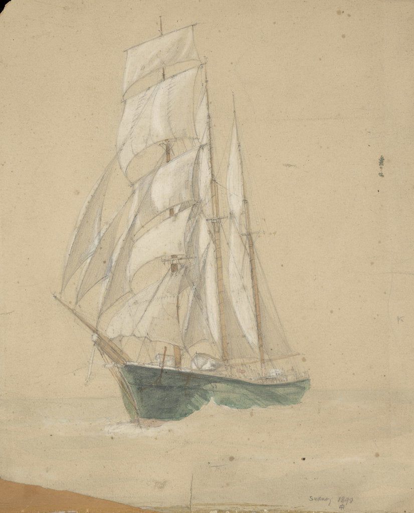 Detail of Three-masted sailing vessel in Sydney by John Everett