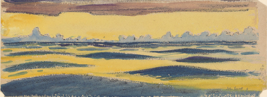 Detail of Seascape, dark blue and yellow and brown cloud by John Everett