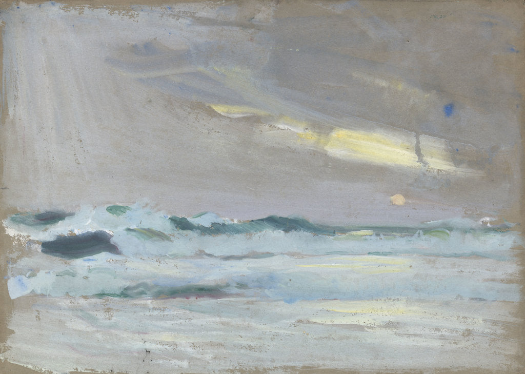 Detail of Green waves breaking on a beach by John Everett