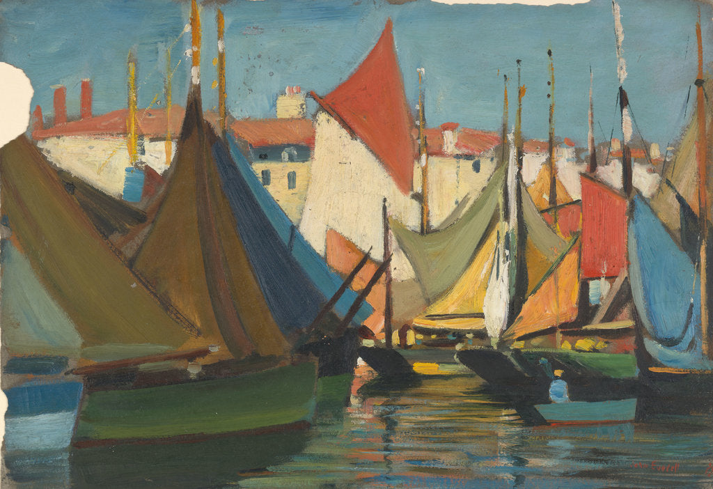 Detail of La Rochelle: fishing boats in the harbour by John Everett