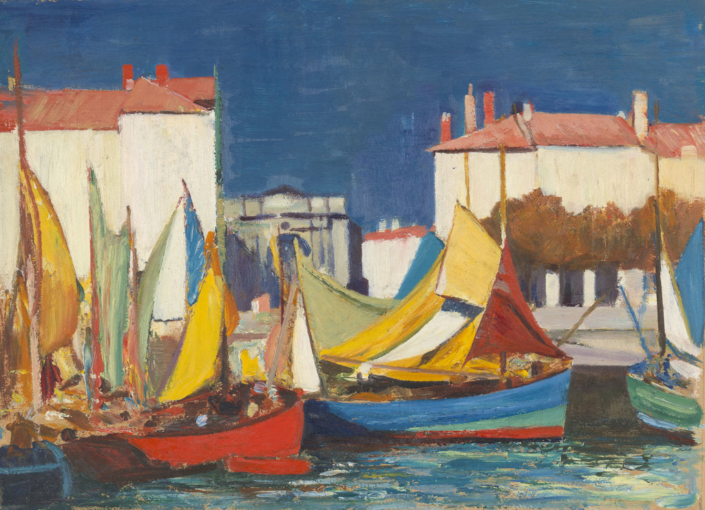 Detail of La Rochelle: fishing boats at the Quai des Dames, in front of the fish market by John Everett