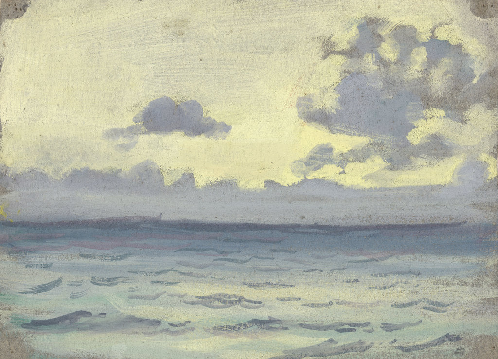 Detail of Seascape, ships on a calm horizon by John Everett