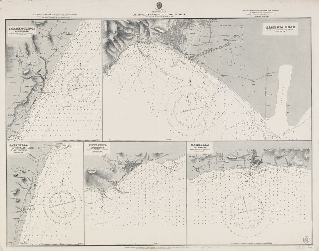 Detail of Mediterranean anchorages on the south coast of Spain from Spanish Government surveys of 1891 by British Admiralty