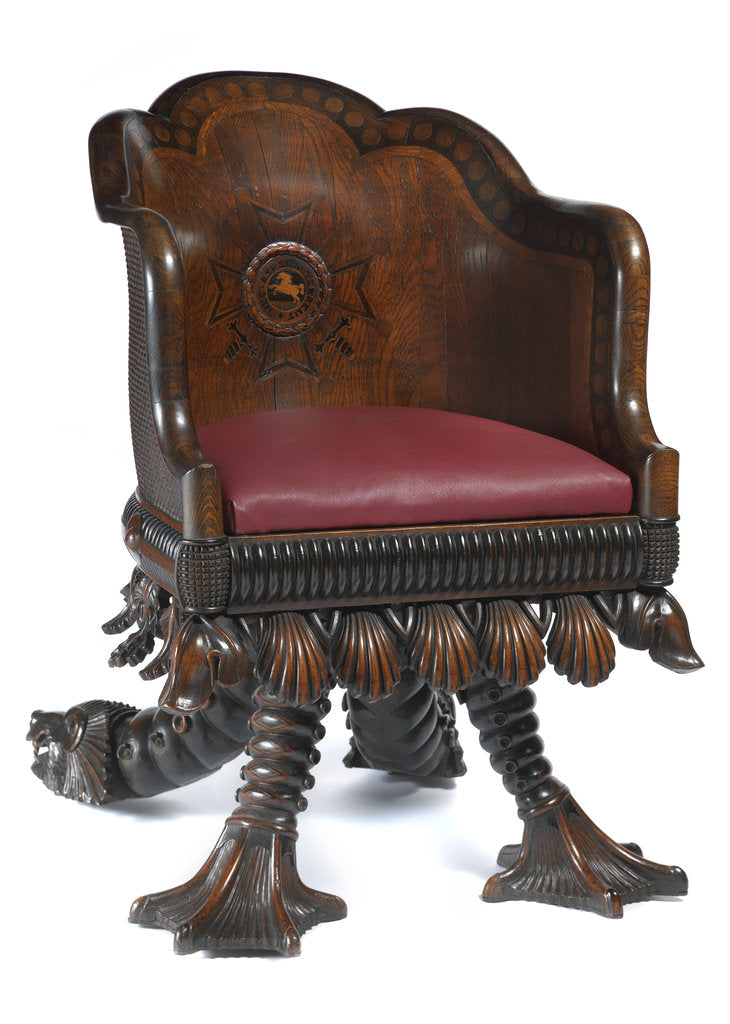 Detail of Chair made from 'Royal George' timber by Henry Whitaker; Thomas Wood Jnr