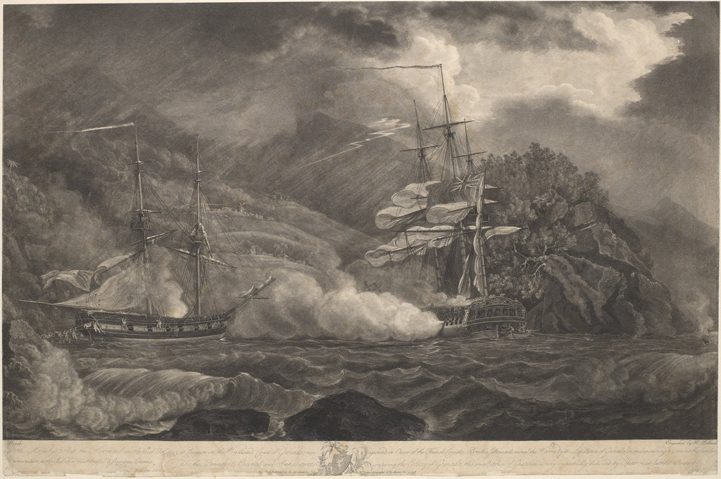 Detail of His Majesty's Ship the Mermaid on the 10th of Octr 1795, at Requin.... Grenada, run aground in Chase of the French Corvette Brutus.. to prevent the landing Ammunition by Nicholas Pocock; Robert Pollard; William Faden