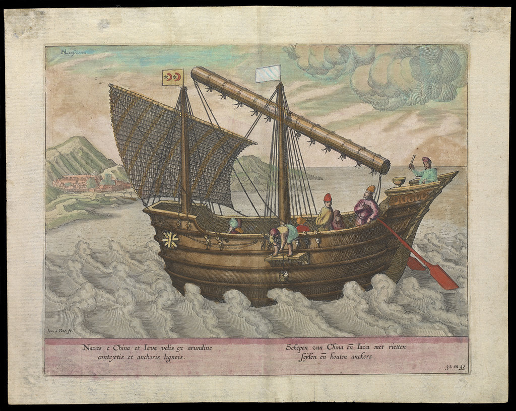 Detail of Naves et China et Java (sailing vessel of China & Java,1599) by Ioa a Doc