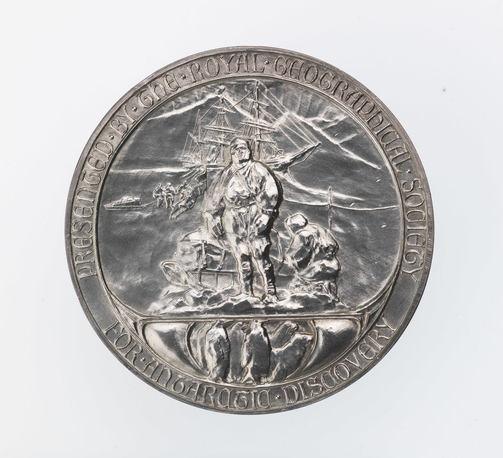 Detail of Royal Geographical society medal: Scott's Antarctic Expedition 1902-1904 by Gilbert Bayes