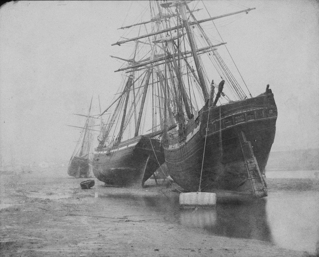 Detail of Stern views of the 'Mary of St Ives' and the 'Liberty of Teignmouth' dried out at Swansea. Inversed digital file to create b&w positive by Calvert Richard Jones