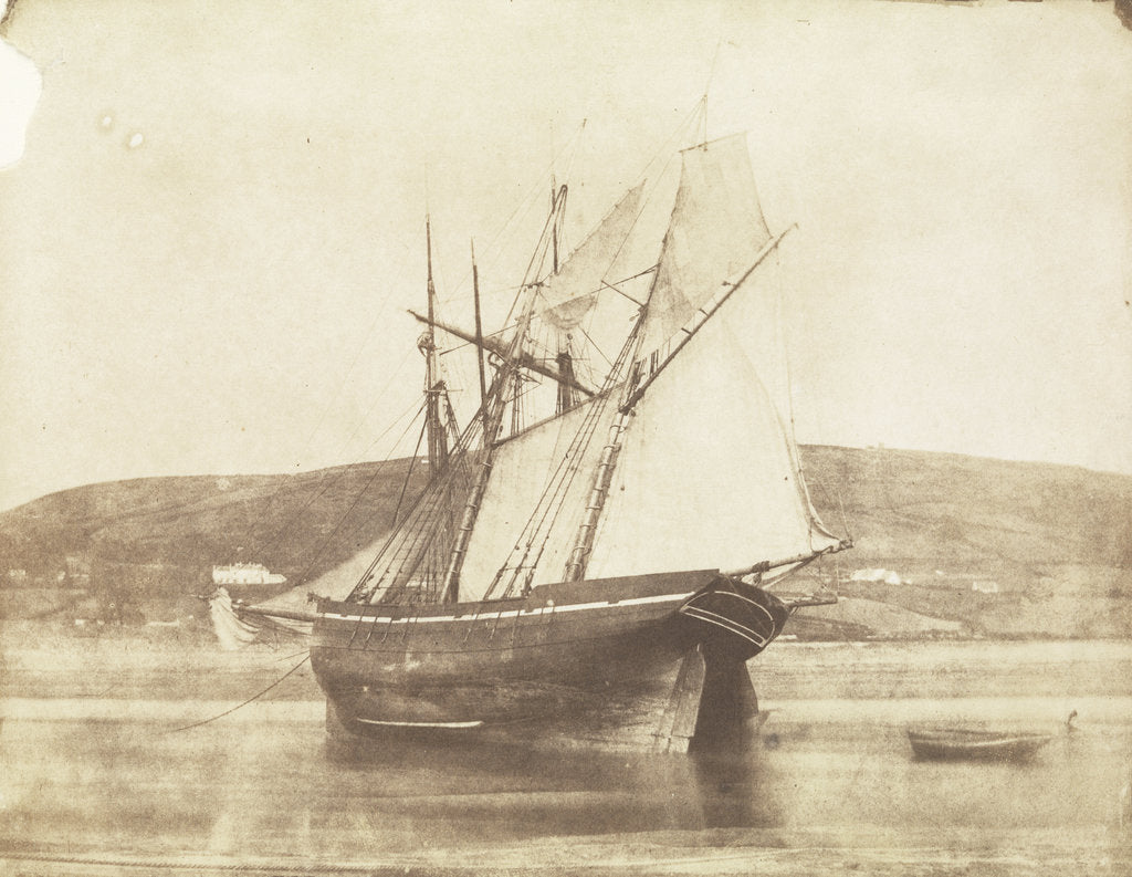 Detail of Schooner with sails set, dried out at Swansea by Calvert Richard Jones