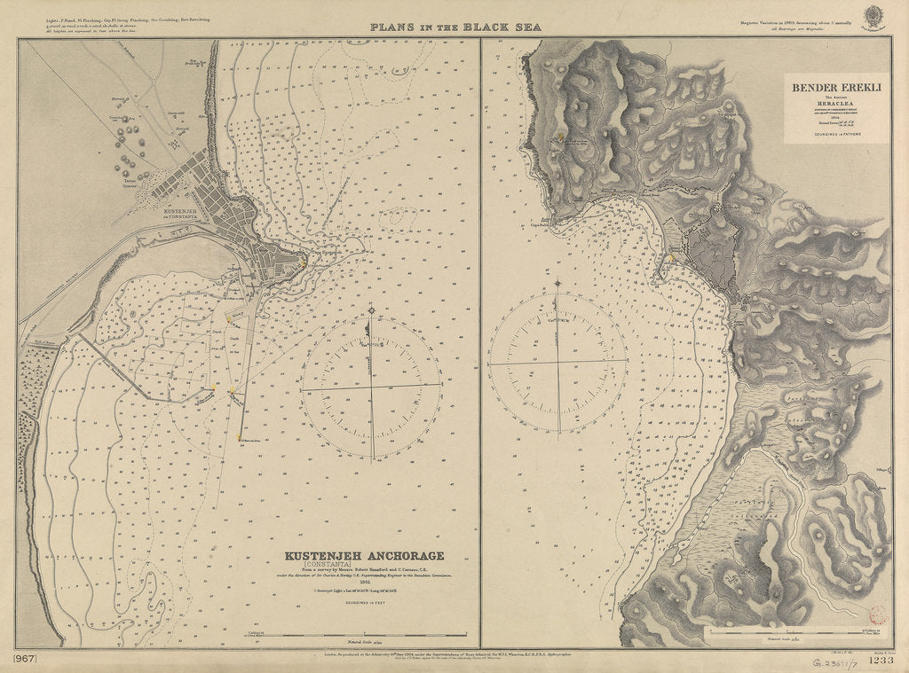 Detail of Plans in the Black Sea by British Admiralty; Malby & Sons; Sir C.A. Hartley CE; Vice-Admiral Thomas A.B. Spratt