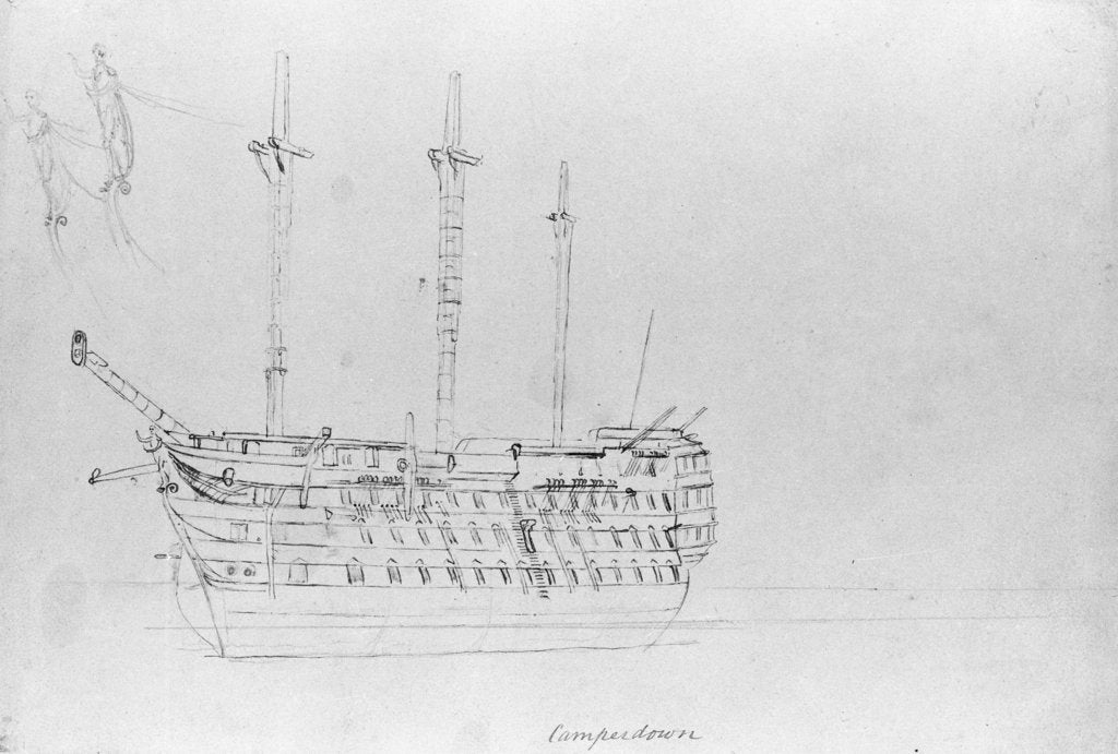 Detail of A sketch of HMS 'Camperdown' by Robert Strickland Thomas