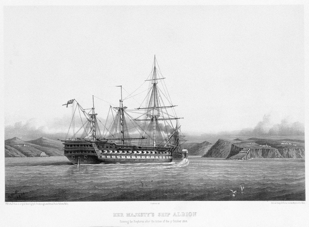 Detail of HMS 'Albion' entering the Bosphorus after the action of 17 October 1854 by E. Goodenough