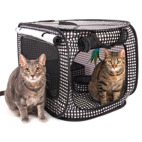 CheeringPet, Cat Travel Cage: Portable Pop Up Pet Crate with Collapsible Litter Box, Foldable Feeding Bowl, Hanging Feather Teaser and ball, & carrying Bag, Extra Large 32