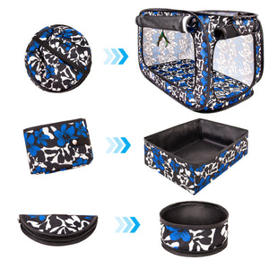 "Portable Pop Up Pet Crate With Litter Box, Bowl, Toys, Carrying Bag - 32""x19""x19"""