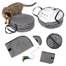 "CheeringPet, Cat Travel Cage: Portable Pop Up Pet Crate with Collapsible Litter Box, Foldable Feeding Bowl, Hanging Feather Teaser and ball, & carrying Bag, Extra Large 32"" X 19"" X 19"""