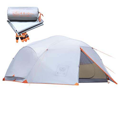 EXIO 4 Person Backpacking Tent: Extended 3+ Season Freestanding Family Tents with Full Rainfly, Footprint, Aluminum Poles & Stakes - 20D Waterproof Ripstop PU Coated Nylon – Compact & Lightweight