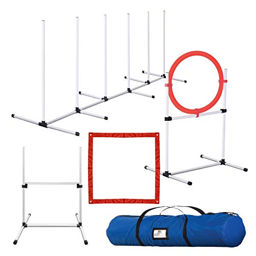 CHEERING PET Dog Agility Training Equipment, 4 Piece Dog Agility Equipment Includes Dog Jump, Tire Jump, Pause Box and Weave Poles with Carrying Case…