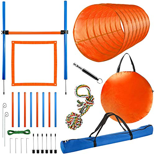 CHEERING PET Dog Agility Equipment, 28 Piece Dog Obstacle Course for Training and Interactive Play Includes Dog Agility Tunnel, Adjustable Hurdles, Poles, Whistle, Rope Toy with Carrying Case