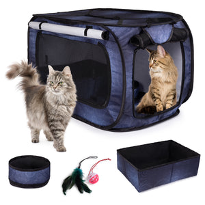 Pop Up Travel Crate With Litter Box, Bowl, Toys, Carrying Bag