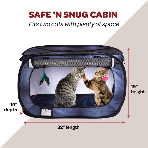 Cat Crate, Stress Free Travel Cat Kennel, Portable Indoor Outdoor Pet Crate, Cat Cage Condo Includes Storage Bag, 4 Cat Toys 32