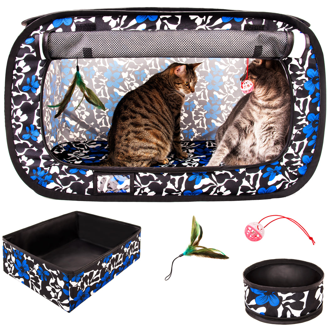 Portable Pop Up Pet Crate With Litter Box, Bowl, Toys, Carrying Bag - 32
