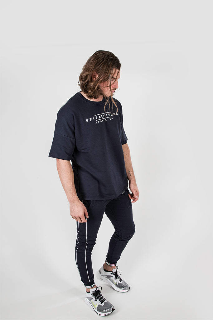 Sweat Tee with Signature Graphic Print in Indigo