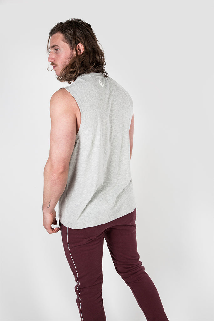 Signature Print Vest in Grey Marl