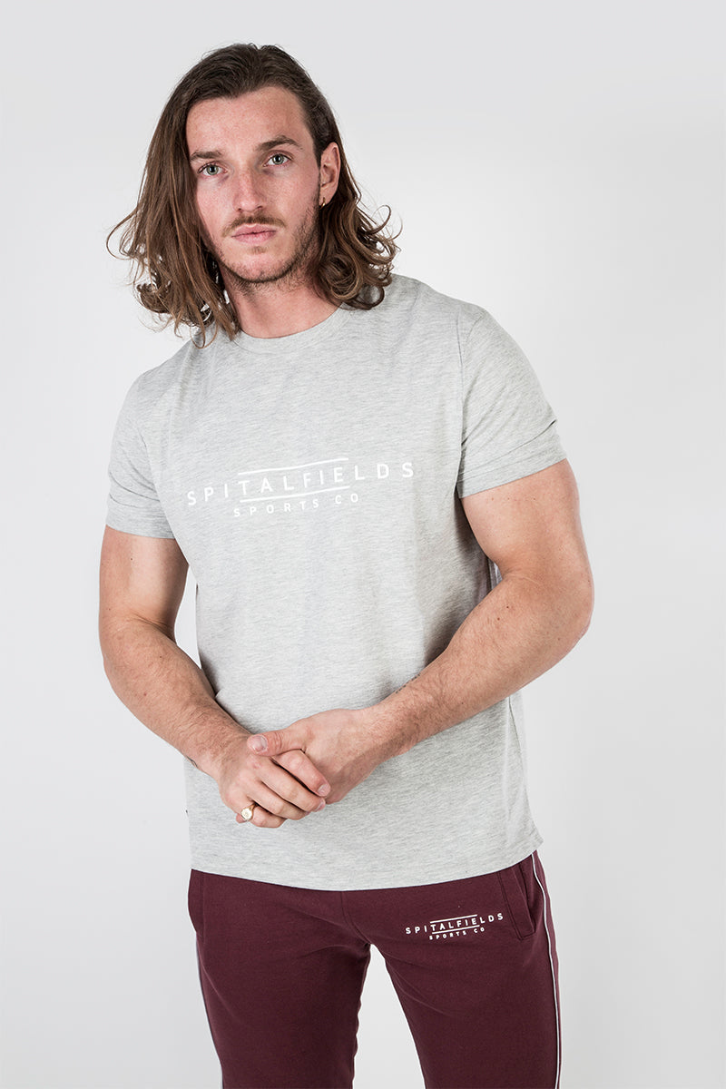 Crew Tee with Spitalfields Signature Print Grey Marl