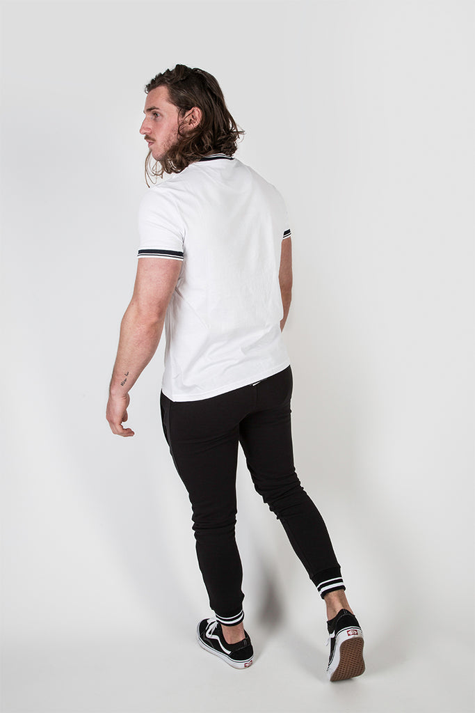 Crew Tee with Stripe Rib Detail White/Dark Navy