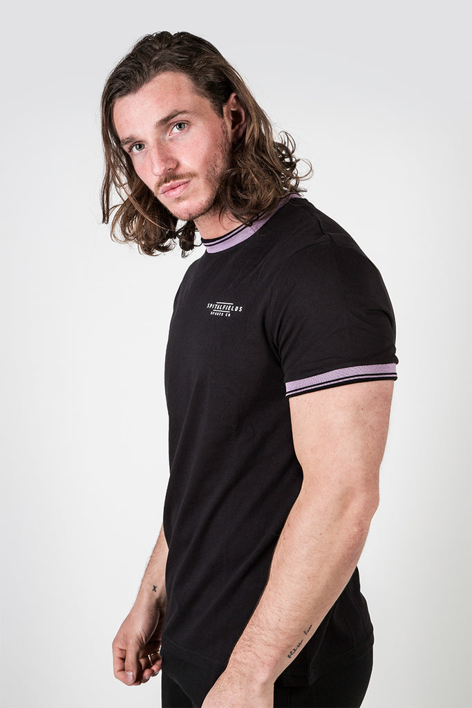 Crew Tee with Stripe Rib Detail Black/Grape