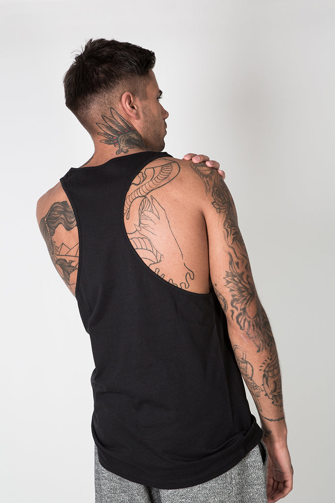 Racer Back Vest with Graphic Print in Black