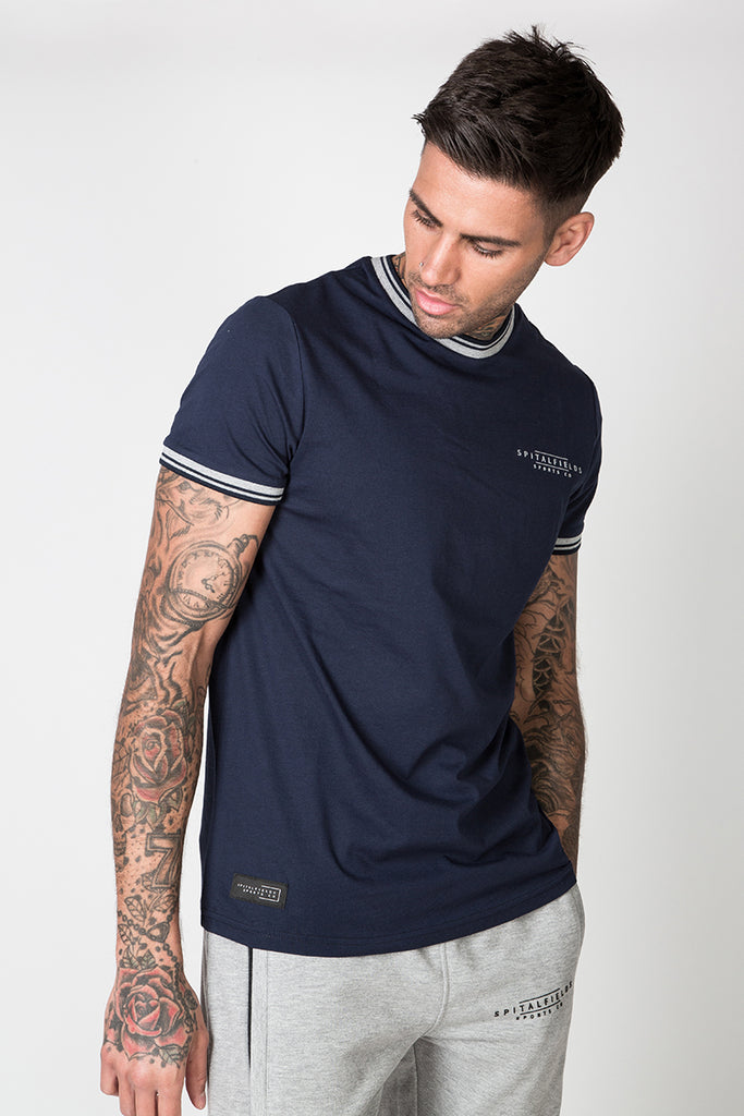 Crew Tee with Stripe Rib Detail in Navy