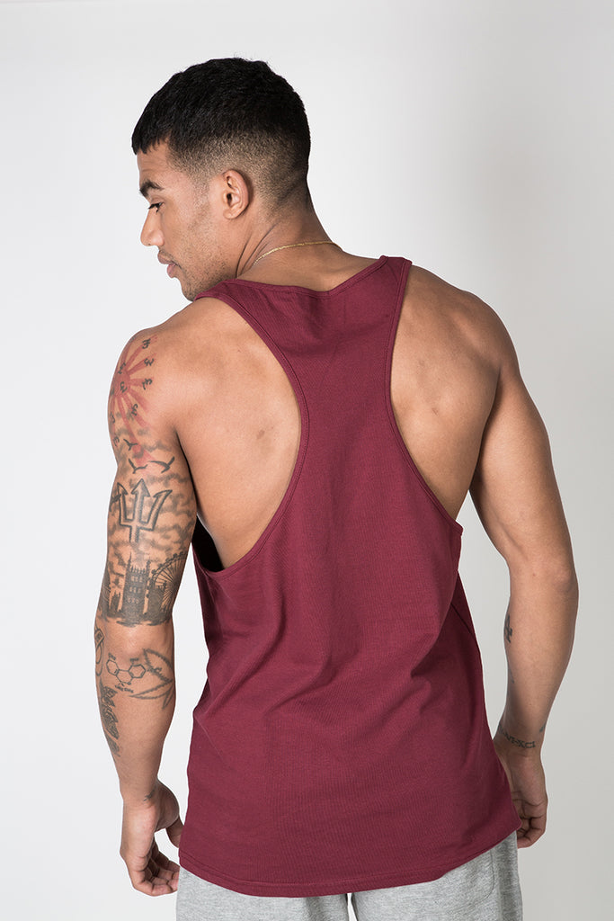 Racer Back Vest with Graphic Print in Burgundy