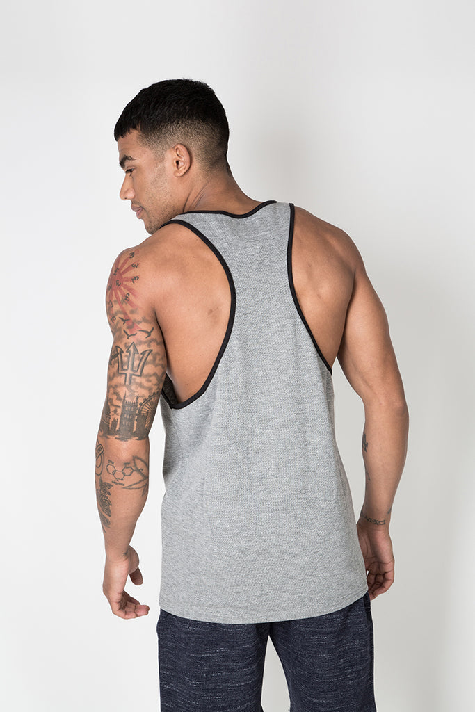 Racer Back Vest with Graphic Print in Grey
