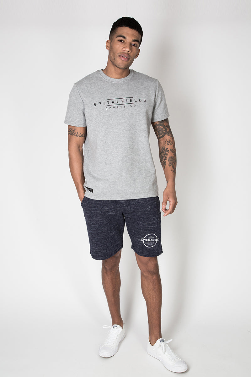 Core Sweat Shorts with Graphic Print in Navy Grindle