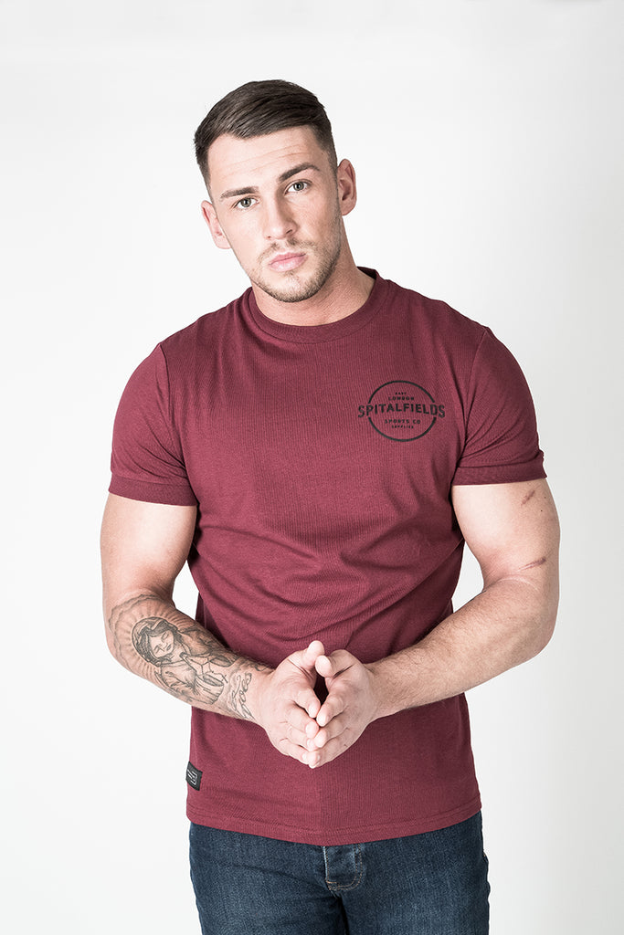 Crew Tee with Small Graphic Print in Burgundy