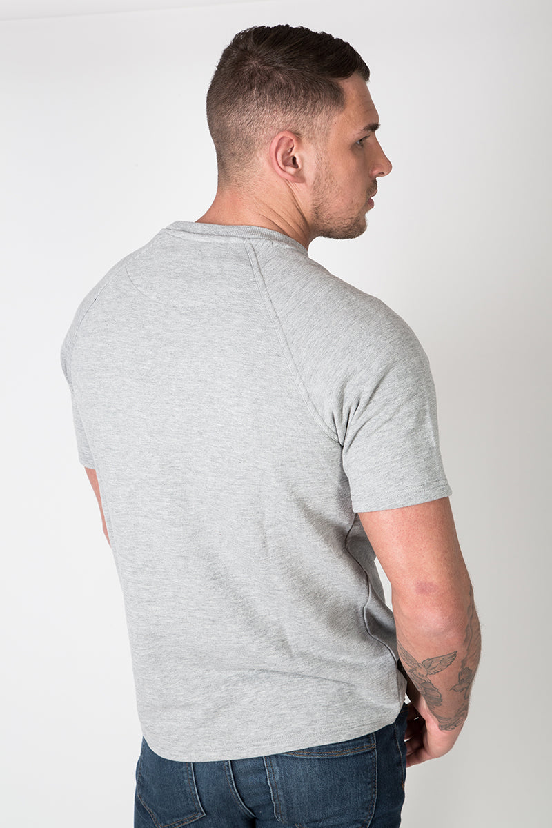 Raglan Sweat Tee with Graphic Print in Grey Marl