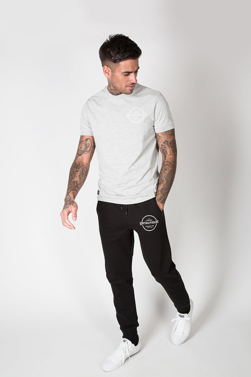 Crew Tee with Small Graphic Print in Grey Marl
