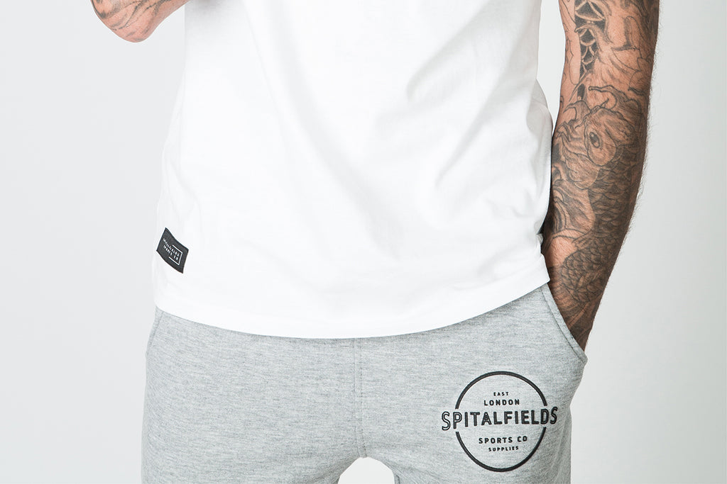 Athletic Fit Panel Jogger with Graphic Print in Grey Marl