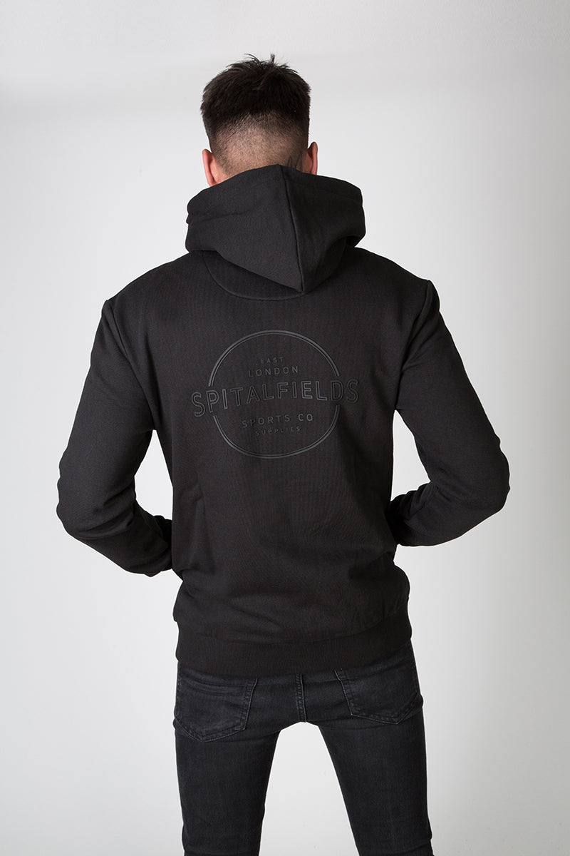 Zip Through Injection Print Hoodie in Black