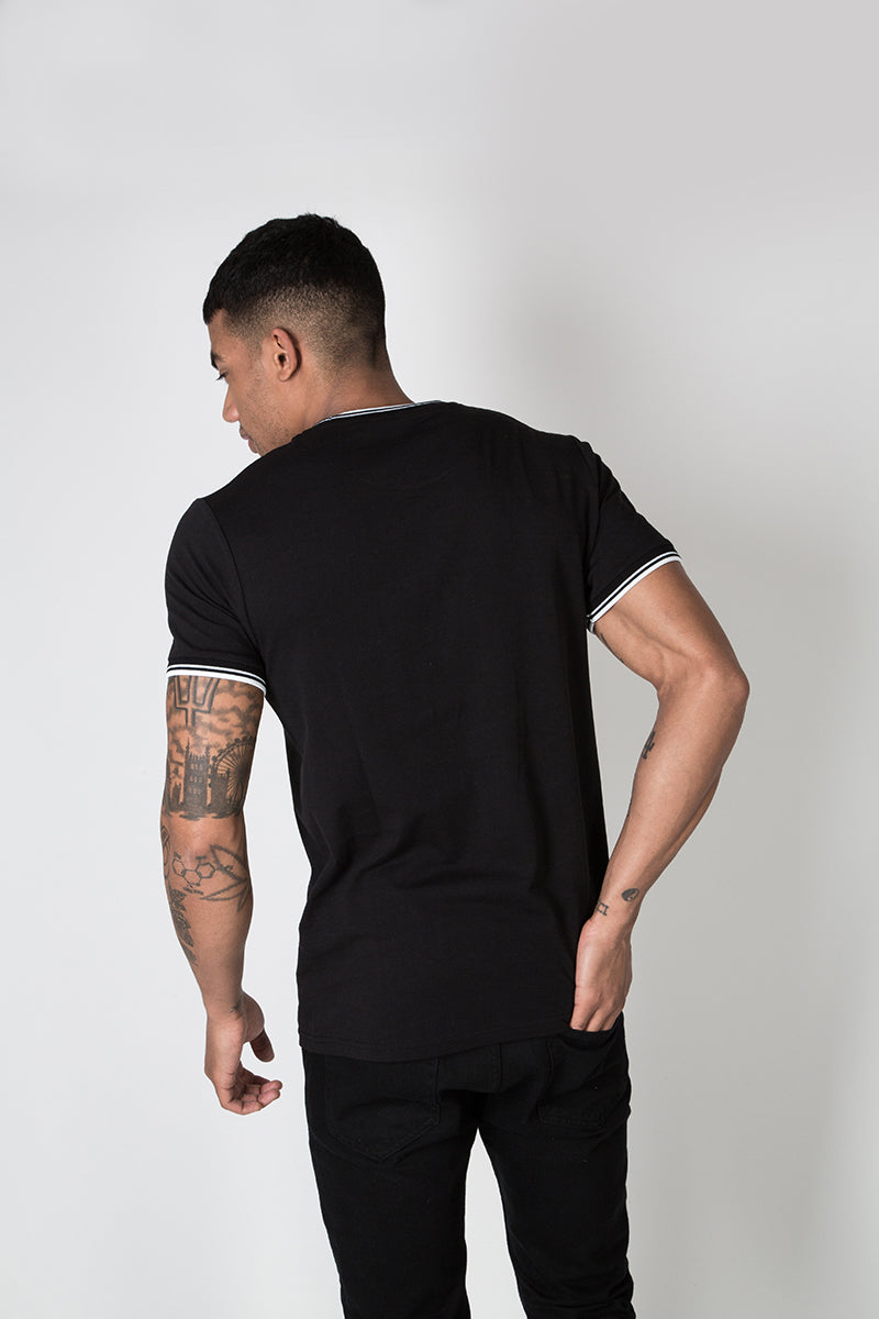 Crew Tee with Stripe Rib Detail in Black