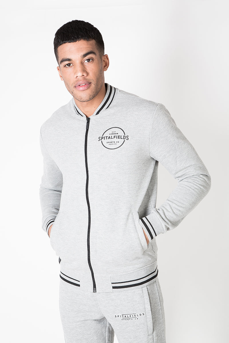 Bomber Zip-through Sweat with Contrast Tipping in Grey Marl