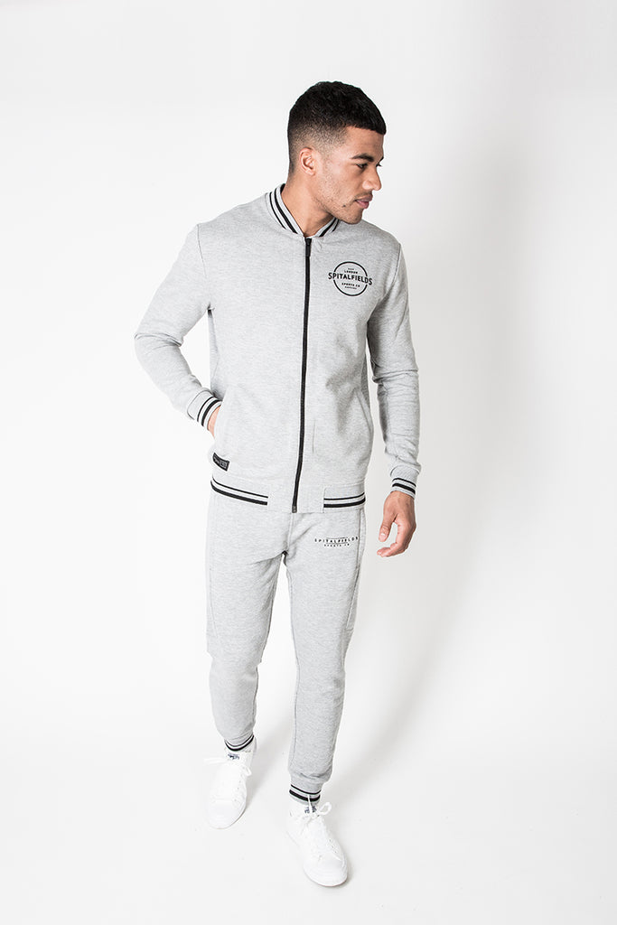 Zip Pocket Jogger with Contrast Tipping in Grey Marl