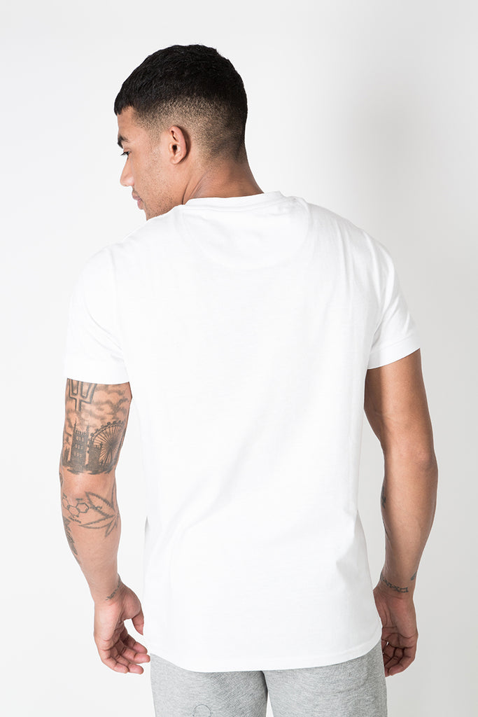 Crew Tee with Small Graphic Print in White